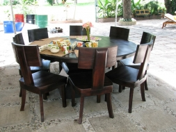 Round Dining Table with curve back dining chairs