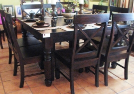 Traditional Square Dining Table with cross back chairs
