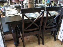 Square Traditional Dining Table with cross back chairs