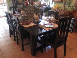 Rectangular straight Leg Dining Table with V-Back and Hour glass chairs
