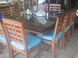 Teak twelve seater dining table square plaited